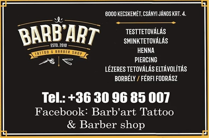KECSKEMÉTINFÓ-BARB'ART TATTO & BARBER SHOP